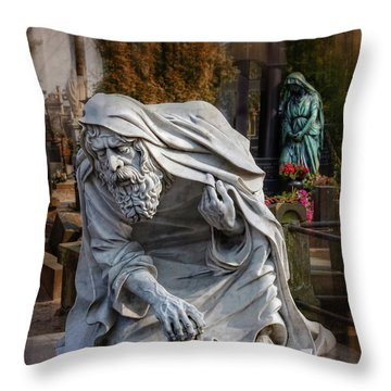 Throw Pillow featuring the photograph The Old Man Of Powazki Cemetery Warsaw  by Carol Japp