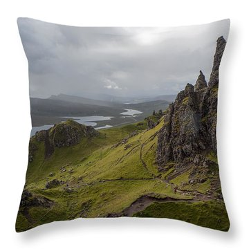The Old Man Of Storr, Isle Of Skye, Uk Throw Pillow by Dubi Roman