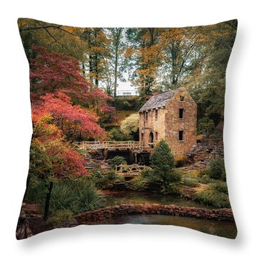 The Old Mill Throw Pillow by James Barber