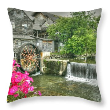 The Old Mill Throw Pillow by Myrna Bradshaw