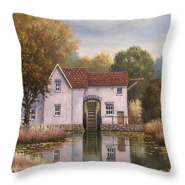 The Old Mill Throw Pillow by Sean Conlon