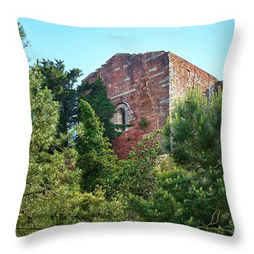 The Old Monastery Of Escornalbou Surrounded By Trees In Spain Throw Pillow