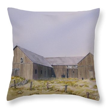 Throw Pillow featuring the painting The Old Morrison Barn by Jackie Mueller-Jones