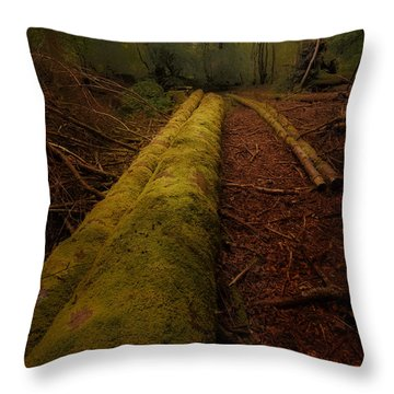 The Old Mossy Trunk Throw Pillow
