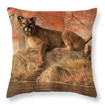 The Old Mountain Lion Throw Pillow