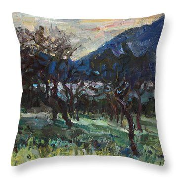 The Old Olive Trees Throw Pillow