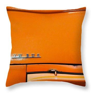 The Old Orange Bus Throw Pillow