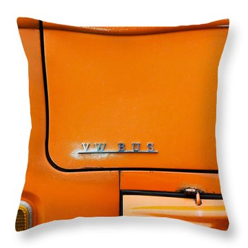The Old Orange Bus Throw Pillow