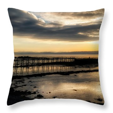 The Old Pier In Culross, Scotland Throw Pillow