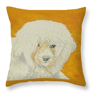 Throw Pillow featuring the painting The Old Poodle by Hilda and Jose Garrancho
