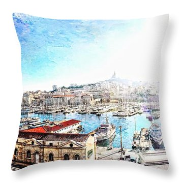 The Old Port Of Marseille  2 Throw Pillow
