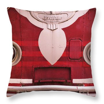 Throw Pillow featuring the photograph The Old Red Bus by Heidi Hermes