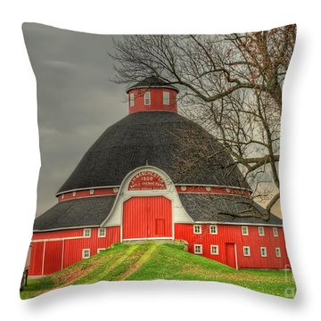 The Old Round Barn Of Ohio Throw Pillow by Pamela Baker