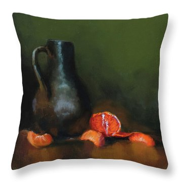 The Old Stoneware Mug Throw Pillow by Barry Williamson