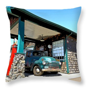 The Old Texaco Station Throw Pillow by Steve McKinzie