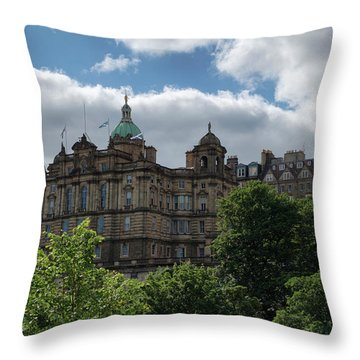 Throw Pillow featuring the photograph The Old Town In Edinburgh by Jeremy Lavender Photography