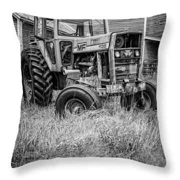 The Old Tractor By The Old Round Barn II Throw Pillow