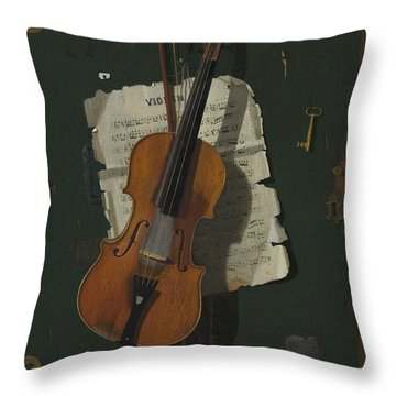 The Old Violin Throw Pillow by John Frederick Peto