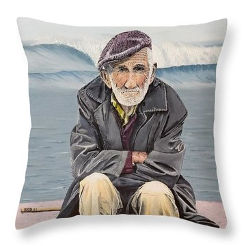 Throw Pillow featuring the painting The Old Waterman by Kevin Daly