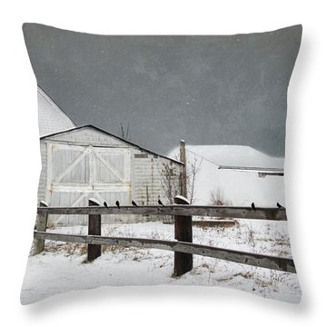 The Old White Barn Throw Pillow