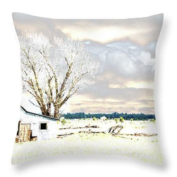 The Old Winter Homestead Throw Pillow