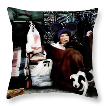 Throw Pillow featuring the painting The Oldest Living Mouskateer by Jann Paxton