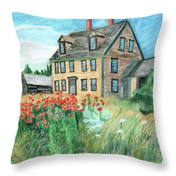 The Olson House With Poppies Throw Pillow
