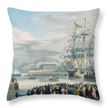 The Opening Of Saint Katharine Docks Throw Pillow by Edward Duncan