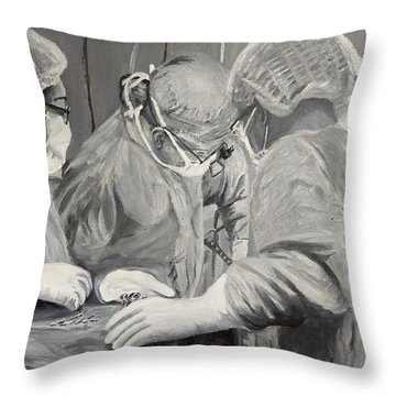 Throw Pillow featuring the painting The Operation by Kevin Daly