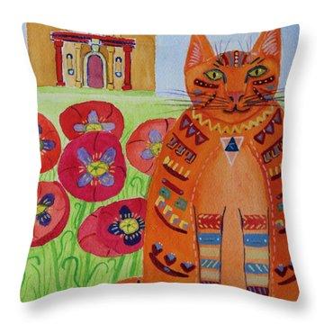 the Orange Alamo Cat Throw Pillow