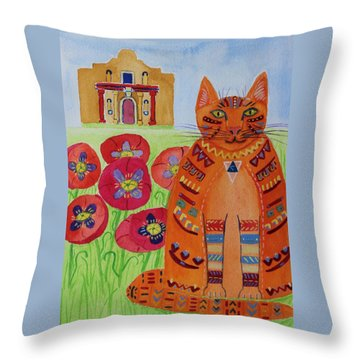 the Orange Alamo Cat Throw Pillow