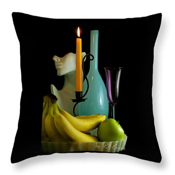 Throw Pillow featuring the photograph The Orange Candle by Elf Evans