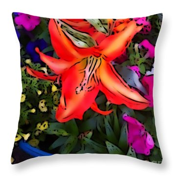 The Orange Flower Throw Pillow