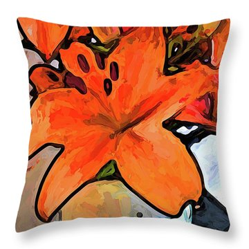 The Orange Lilies In The Mother Of Pearl Vase Throw Pillow