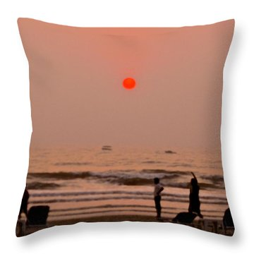 Throw Pillow featuring the photograph The Orange Moon by Sher Nasser