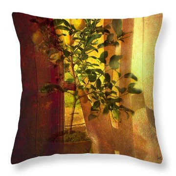 Throw Pillow featuring the digital art The Orange Tree by Delona Seserman