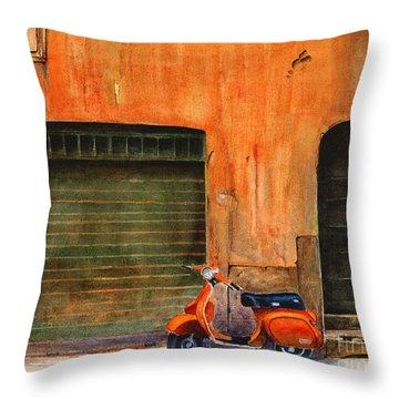 The Orange Vespa Throw Pillow