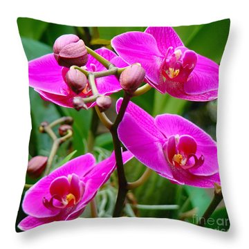 Throw Pillow featuring the photograph The Orchid Dance by Sue Melvin