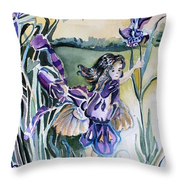 Throw Pillow featuring the painting The Orchid Fairy by Mindy Newman
