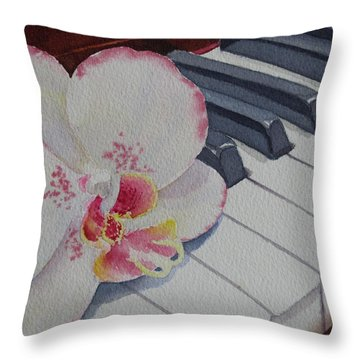 Throw Pillow featuring the painting The Orchids Song by Judy Mercer