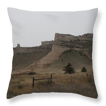 The Oregon Trail Scotts Bluff Nebraska Throw Pillow