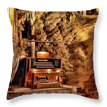 The Organ In Luray Caverns Throw Pillow by Paul Ward