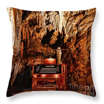 The Organ In The Cavern Throw Pillow by Paul Ward