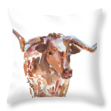 The Original Longhorn Standing Earth Quack Watercolor Painting By Kmcelwaine Throw Pillow by Kathleen McElwaine