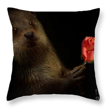 Throw Pillow featuring the photograph The Otter by Christine Sponchia