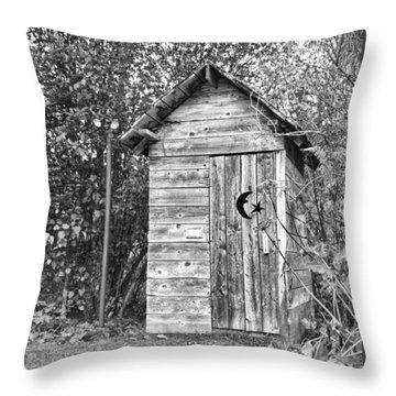 The Outhouse Bw Throw Pillow