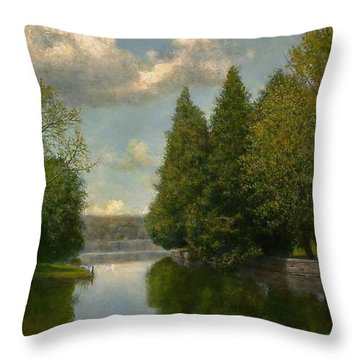 Throw Pillow featuring the painting The Outlet by Wayne Daniels