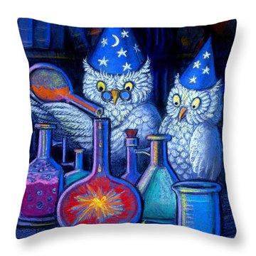 The Owl Chemists Throw Pillow