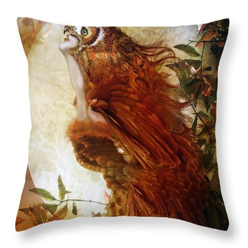 The Owl Throw Pillow by Mary Hood