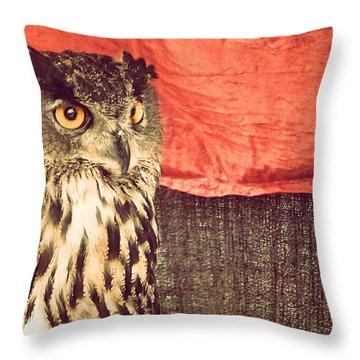 The Owl Throw Pillow by Pedro Venancio